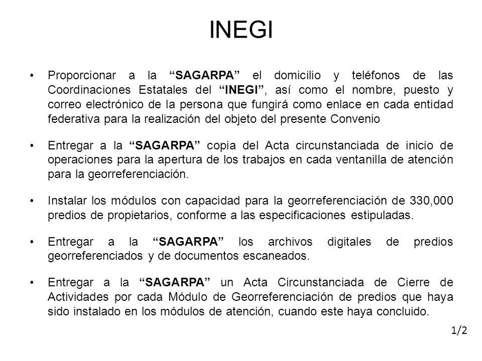 Proporcionar a la SAGARPA el domicilio y teléfonos de las Coordinaciones Estatales del INEGI, así como el nombre, puesto y correo electrónico de la pe