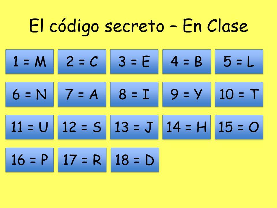 El código secreto – En Clase 1 = M 11 = U 13 = J 12 = S 7 = A 6 = N 2 = C 8 = I 9 = Y 10 = T 3 = E 4 = B 5 = L 14 = H 15 = O 16 = P 17 = R 18 = D