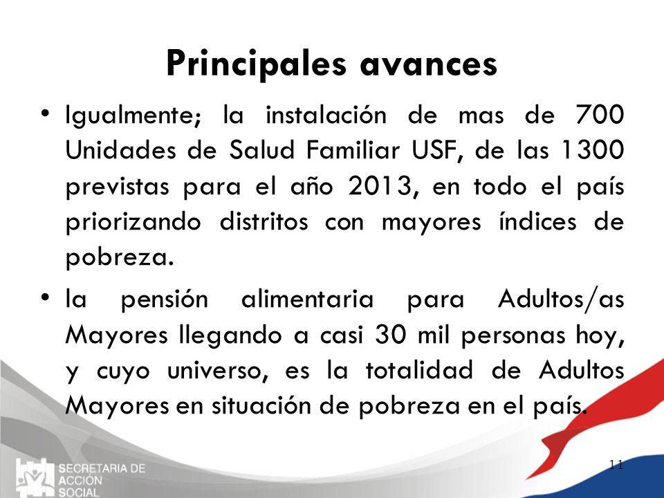 Principales avances Igualmente; la instalación de mas de 700 Unidades de Salud Familiar USF, de las 1300 previstas para el año 2013, en todo el país p