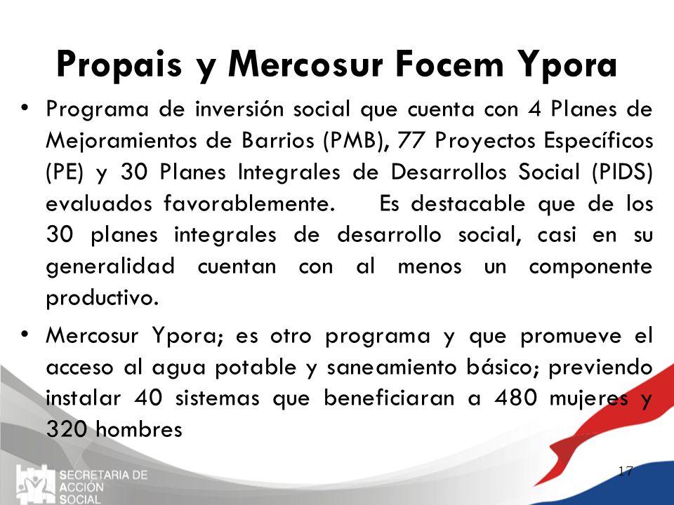 Propais y Mercosur Focem Ypora Programa de inversión social que cuenta con 4 Planes de Mejoramientos de Barrios (PMB), 77 Proyectos Específicos (PE) y