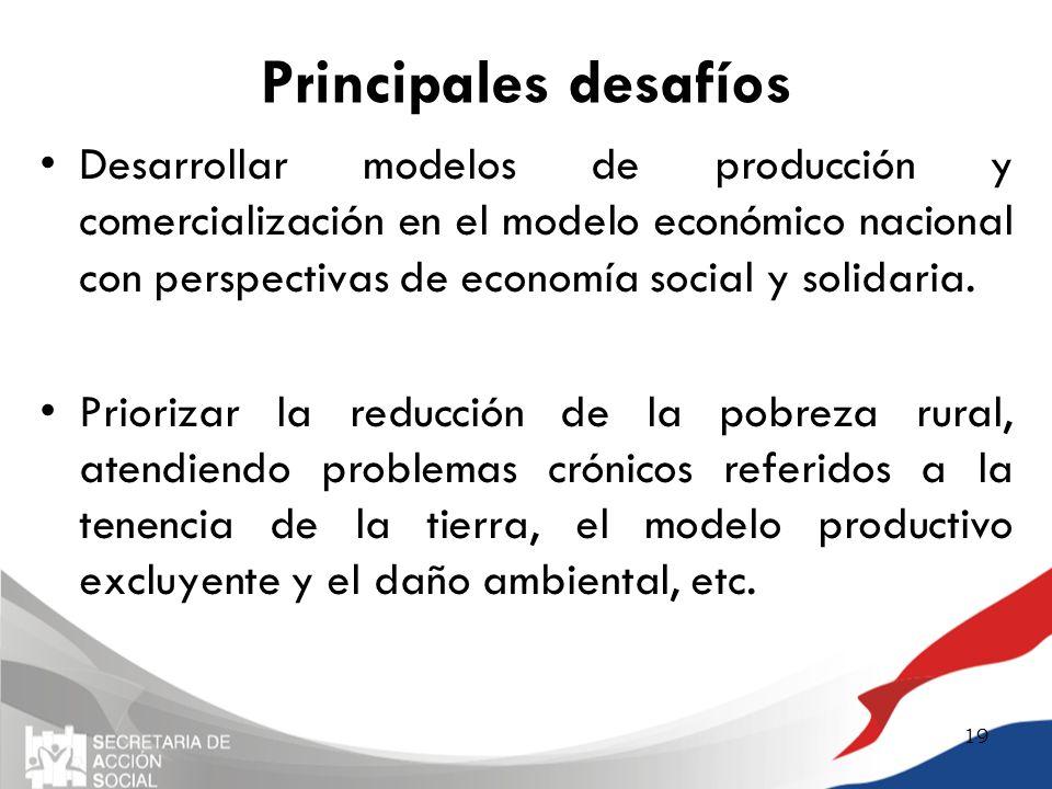Principales desafíos Desarrollar modelos de producción y comercialización en el modelo económico nacional con perspectivas de economía social y solida