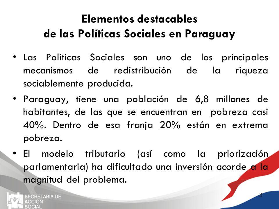 Elementos destacables de las Políticas Sociales en Paraguay Las Políticas Sociales son uno de los principales mecanismos de redistribución de la rique