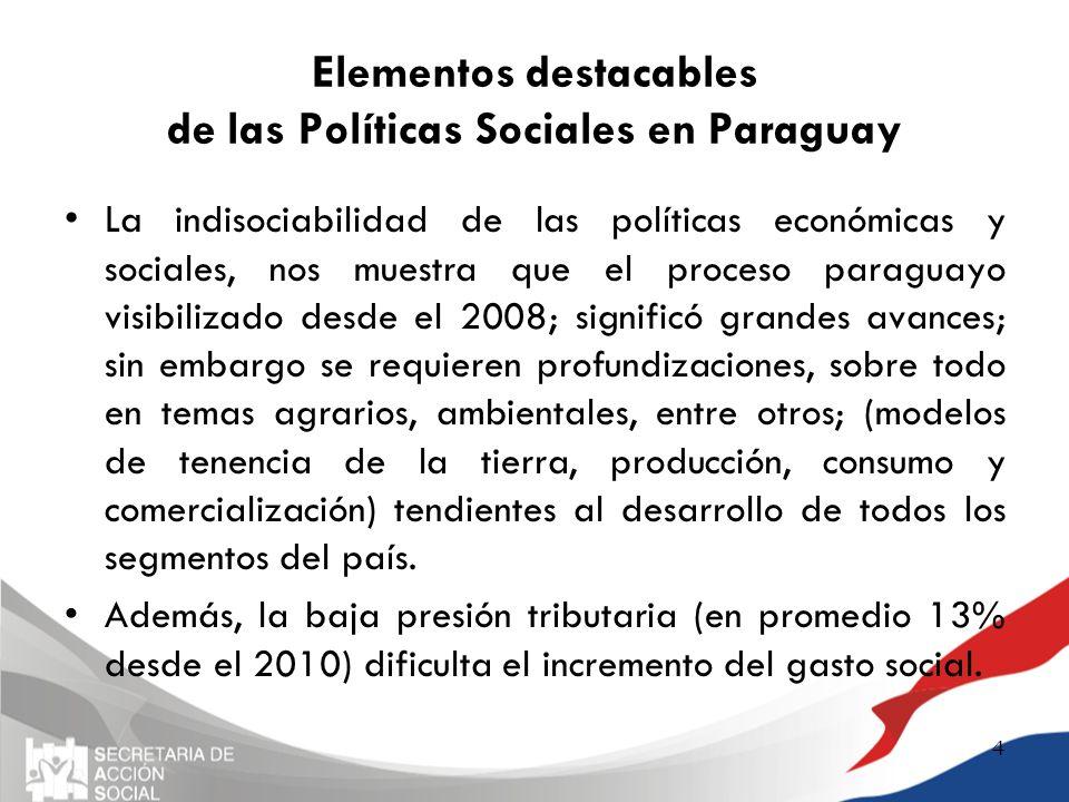 Elementos destacables de las Políticas Sociales en Paraguay La indisociabilidad de las políticas económicas y sociales, nos muestra que el proceso par