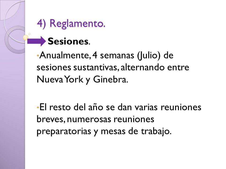 4) Reglamento. Sesiones. Anualmente, 4 semanas (Julio) de sesiones sustantivas, alternando entre Nueva York y Ginebra. El resto del año se dan varias