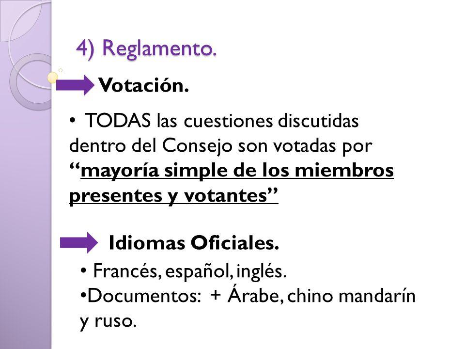 4) Reglamento. Votación. TODAS las cuestiones discutidas dentro del Consejo son votadas pormayoría simple de los miembros presentes y votantes Idiomas