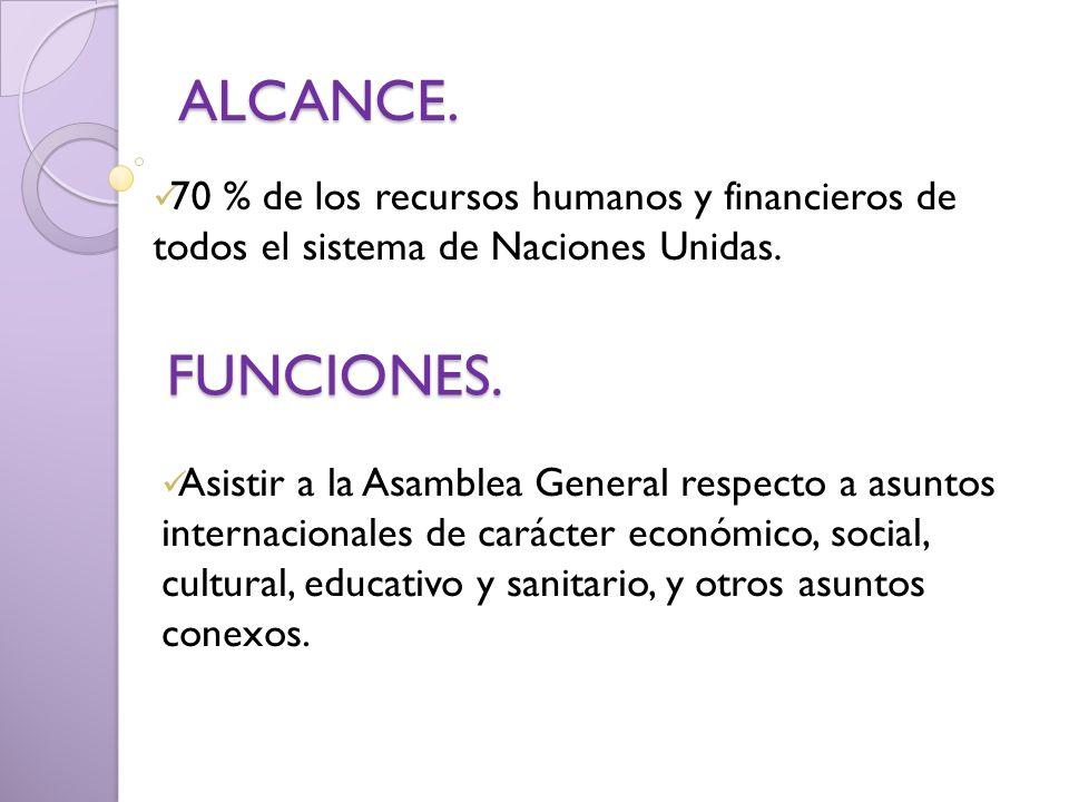 ALCANCE. 70 % de los recursos humanos y financieros de todos el sistema de Naciones Unidas. FUNCIONES. Asistir a la Asamblea General respecto a asunto