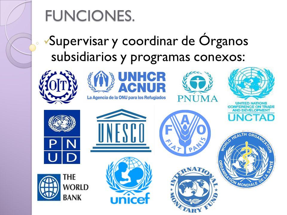 FUNCIONES. Supervisar y coordinar de Órganos subsidiarios y programas conexos: