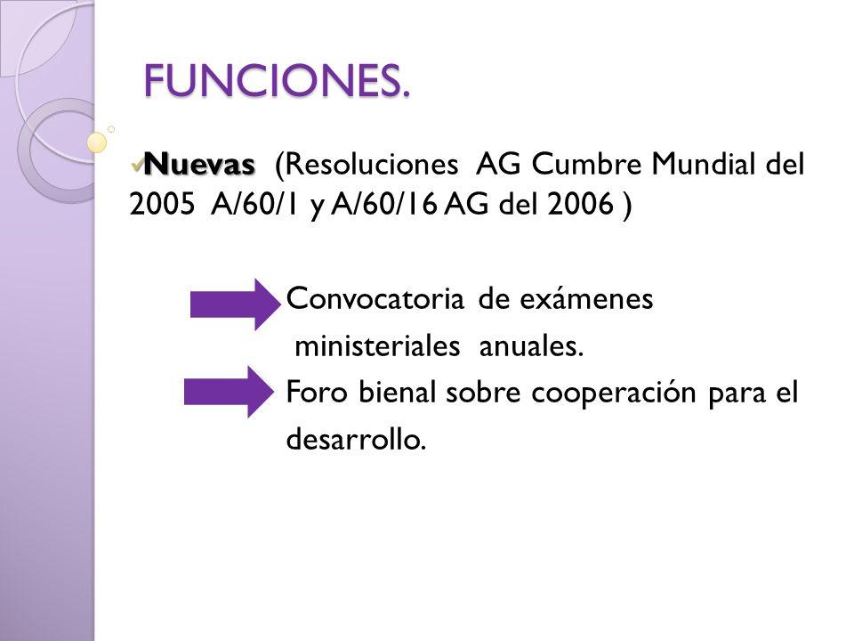 FUNCIONES. Nuevas Nuevas (Resoluciones AG Cumbre Mundial del 2005 A/60/1 y A/60/16 AG del 2006 ) Convocatoria de exámenes ministeriales anuales. Foro