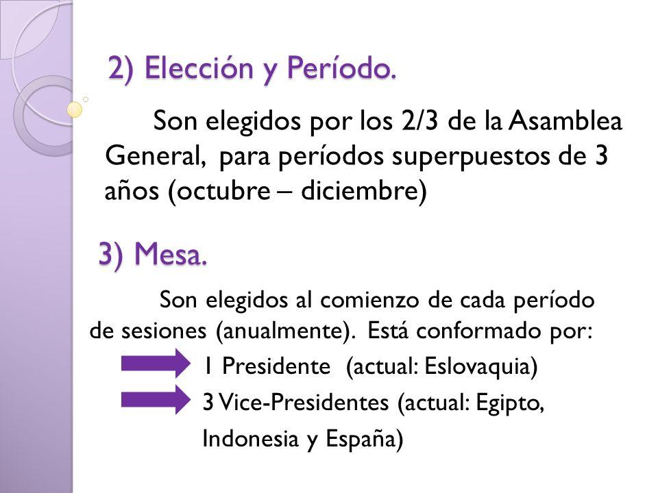 Son elegidos al comienzo de cada período de sesiones (anualmente). Está conformado por: 1 Presidente (actual: Eslovaquia) 3 Vice-Presidentes (actual: