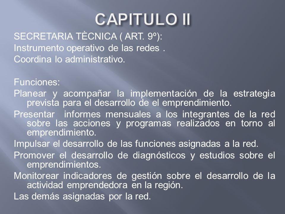 SECRETARIA TÈCNICA ( ART. 9º): Instrumento operativo de las redes. Coordina lo administrativo. Funciones: Planear y acompañar la implementación de la