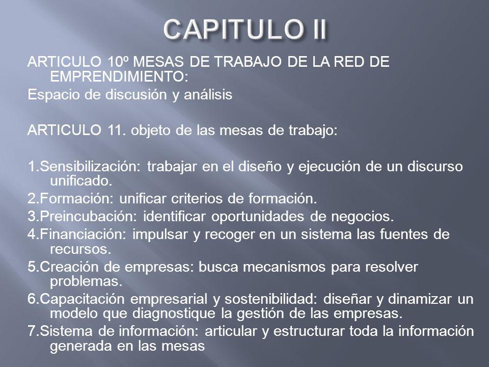 ARTICULO 10º MESAS DE TRABAJO DE LA RED DE EMPRENDIMIENTO: Espacio de discusión y análisis ARTICULO 11. objeto de las mesas de trabajo: 1.Sensibilizac