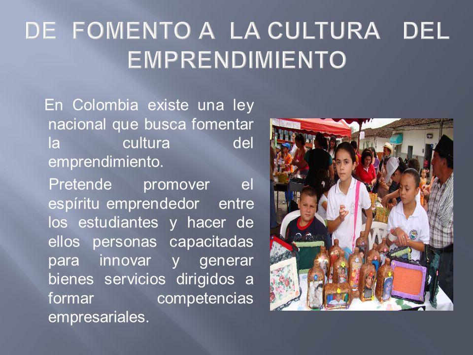 En Colombia existe una ley nacional que busca fomentar la cultura del emprendimiento. Pretende promover el espíritu emprendedor entre los estudiantes