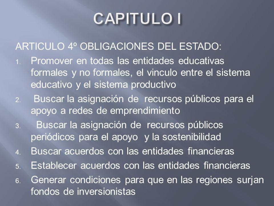 ARTICULO 4º OBLIGACIONES DEL ESTADO: 1. Promover en todas las entidades educativas formales y no formales, el vinculo entre el sistema educativo y el