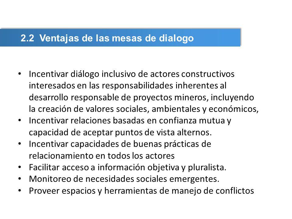 Incentivar diálogo inclusivo de actores constructivos interesados en las responsabilidades inherentes al desarrollo responsable de proyectos mineros,