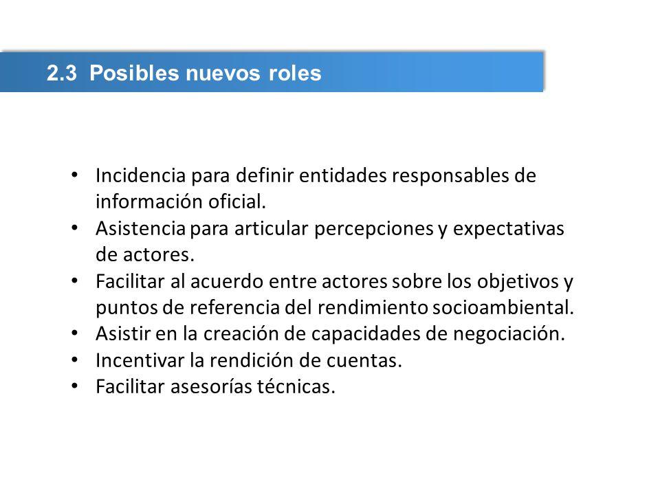 2.3 Posibles nuevos roles Incidencia para definir entidades responsables de información oficial. Asistencia para articular percepciones y expectativas