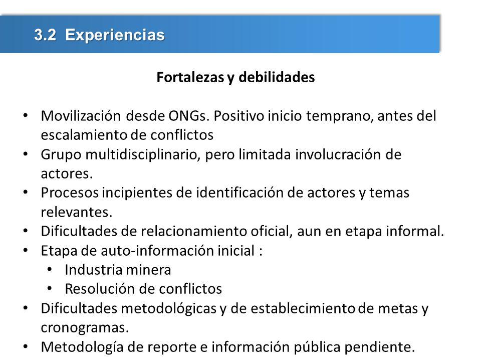 3.2 Experiencias Fortalezas y debilidades Movilización desde ONGs. Positivo inicio temprano, antes del escalamiento de conflictos Grupo multidisciplin
