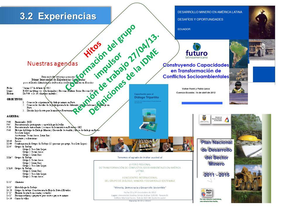 Nuestras agendas Hitos Conformación del grupo impulsor Reunión de trabajo 27/04/13. Definiciones de la IDME 3.2 Experiencias