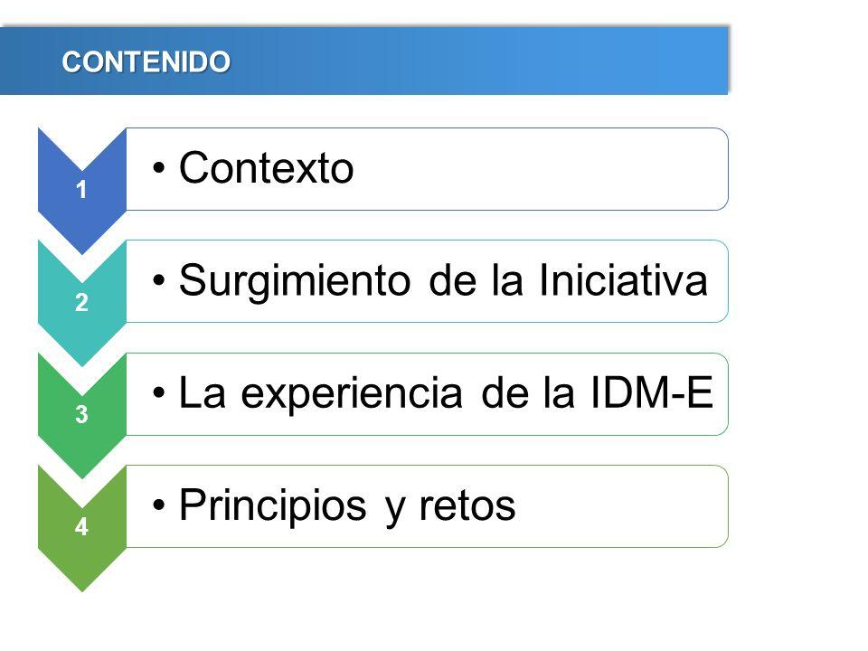 CONTENIDOCONTENIDO 1 Contexto 2 Surgimiento de la Iniciativa 3 La experiencia de la IDM-E 4 Principios y retos