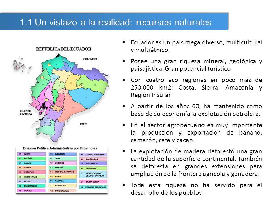 En Ecuador se reconoce: Minería artesanal Antigua actividad Muy contaminante Minería de pequeña escala Mediana minería (en aparición) Minería a gran escala (lo nuevo: el desafío) Proyectos en zonas de alta sensibilidad Presencia de poblaciones indígenas y colonas Presencia de minería artesanal en concesiones mineras 1.1 Un vistazo a la realidad: recursos y actividad minera