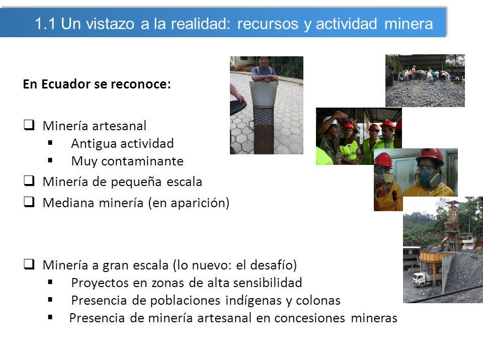 En Ecuador se reconoce: Minería artesanal Antigua actividad Muy contaminante Minería de pequeña escala Mediana minería (en aparición) Minería a gran e
