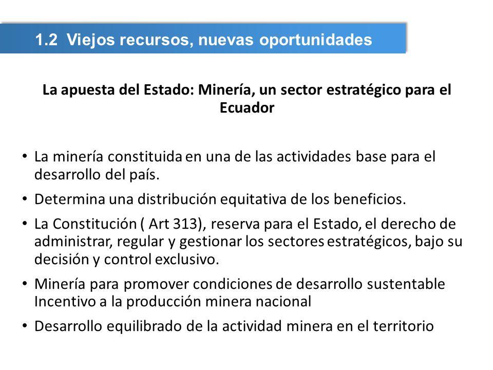 La apuesta del Estado: Minería, un sector estratégico para el Ecuador La minería constituida en una de las actividades base para el desarrollo del paí