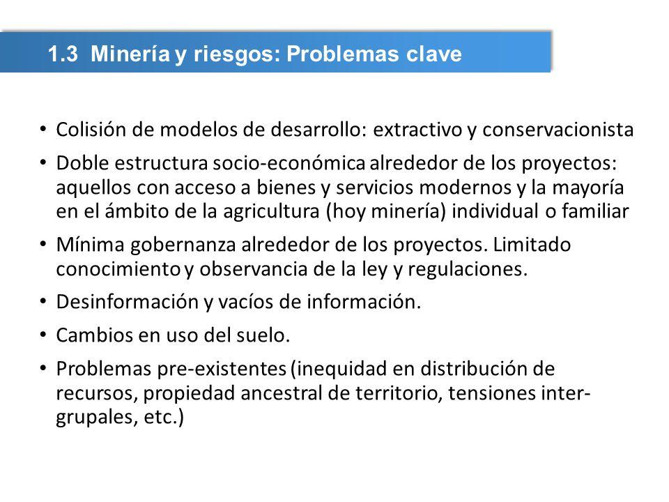 1.3 Minería y riesgos: Problemas clave Colisión de modelos de desarrollo: extractivo y conservacionista Doble estructura socio-económica alrededor de