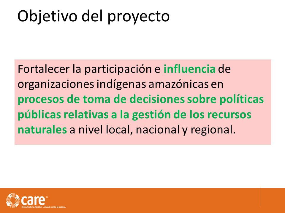 Fortalecer la participación e influencia de organizaciones indígenas amazónicas en procesos de toma de decisiones sobre políticas públicas relativas a la gestión de los recursos naturales a nivel local, nacional y regional.