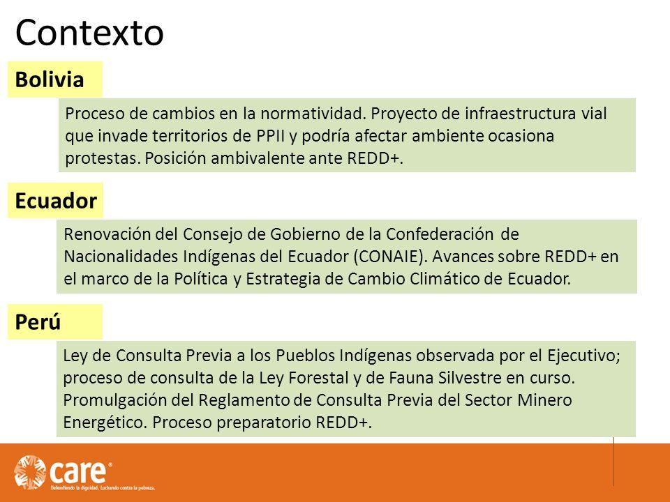 Contexto Bolivia Ecuador Perú Proceso de cambios en la normatividad.