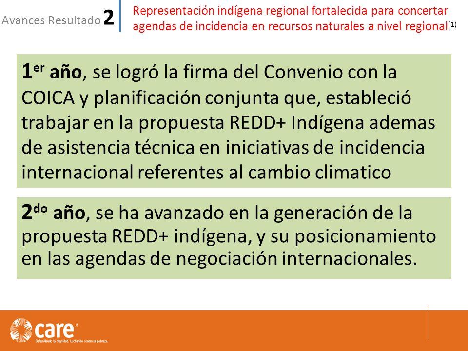 Representación indígena regional fortalecida para concertar agendas de incidencia en recursos naturales a nivel regional (1) Avances Resultado 2 2 do año, se ha avanzado en la generación de la propuesta REDD+ indígena, y su posicionamiento en las agendas de negociación internacionales.