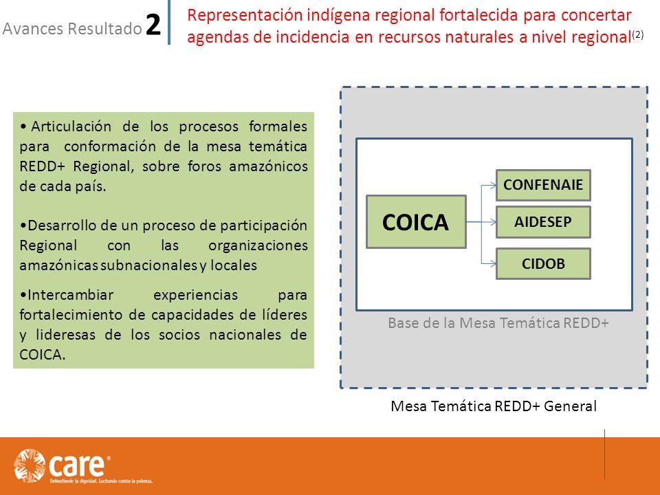 Representación indígena regional fortalecida para concertar agendas de incidencia en recursos naturales a nivel regional (2) Avances Resultado 2 Articulación de los procesos formales para conformación de la mesa temática REDD+ Regional, sobre foros amazónicos de cada país.