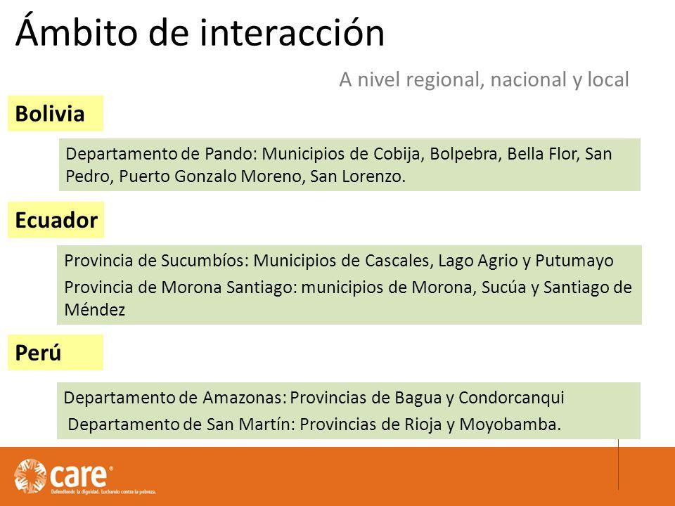Ámbito de interacción Bolivia Ecuador Perú Departamento de Pando: Municipios de Cobija, Bolpebra, Bella Flor, San Pedro, Puerto Gonzalo Moreno, San Lorenzo.