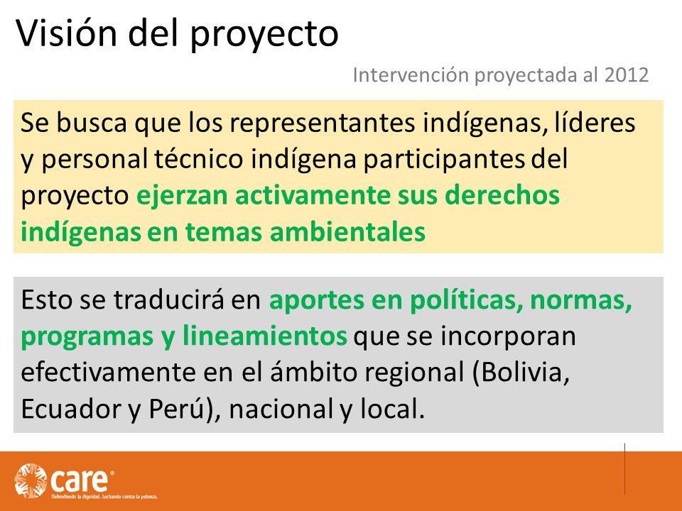 Esto se traducirá en aportes en políticas, normas, programas y lineamientos que se incorporan efectivamente en el ámbito regional (Bolivia, Ecuador y Perú), nacional y local.