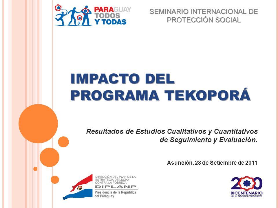 IMPACTO DEL PROGRAMA TEKOPORÁ Resultados de Estudios Cualitativos y Cuantitativos de Seguimiento y Evaluación. Asunción, 28 de Setiembre de 2011 SEMIN
