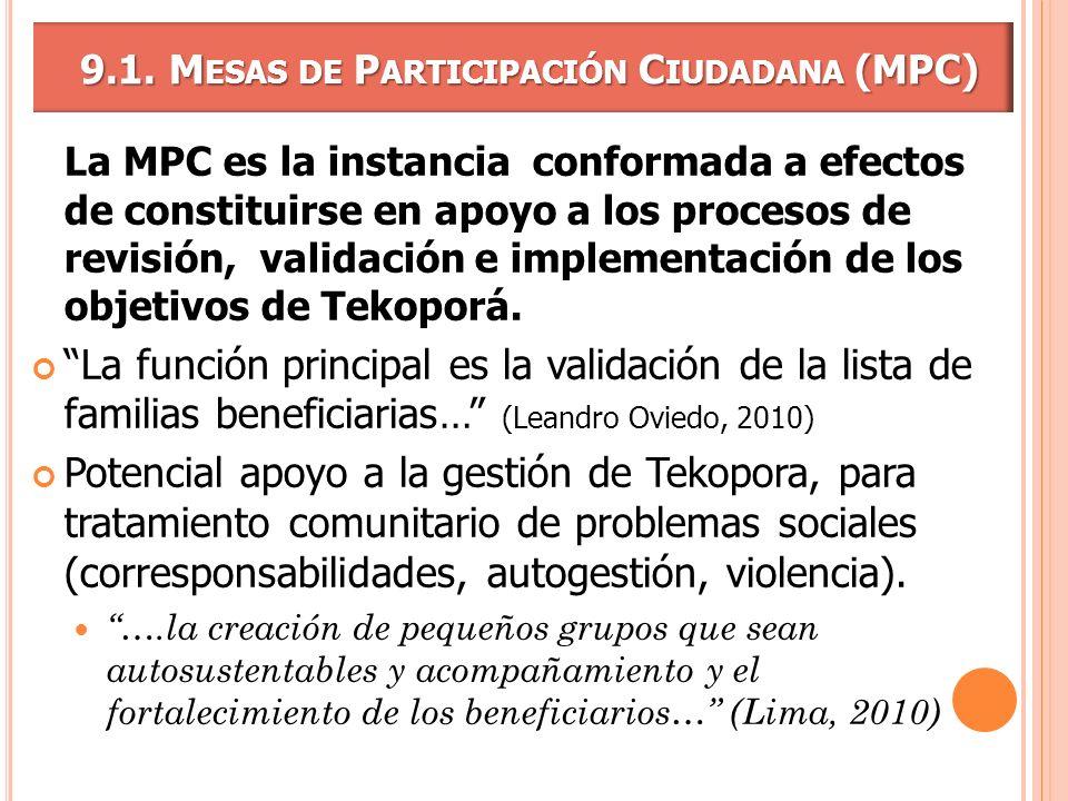 9.1. M ESAS DE P ARTICIPACIÓN C IUDADANA (MPC) 9.1. M ESAS DE P ARTICIPACIÓN C IUDADANA (MPC) La MPC es la instancia conformada a efectos de constitui