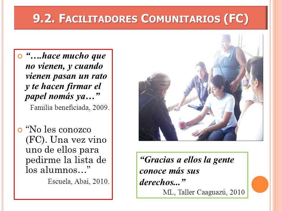 9.2. F ACILITADORES C OMUNITARIOS (FC) ….hace mucho que no vienen, y cuando vienen pasan un rato y te hacen firmar el papel nomás ya… Familia benefici