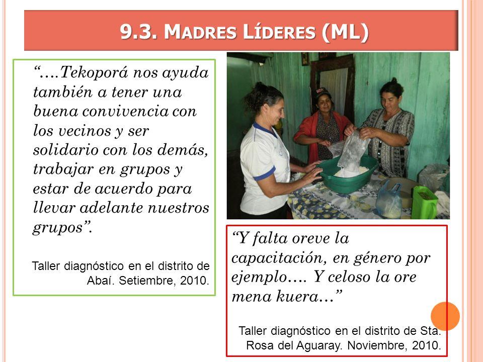 9.3. M ADRES L ÍDERES (ML) 9.3. M ADRES L ÍDERES (ML) ….Tekoporá nos ayuda también a tener una buena convivencia con los vecinos y ser solidario con l