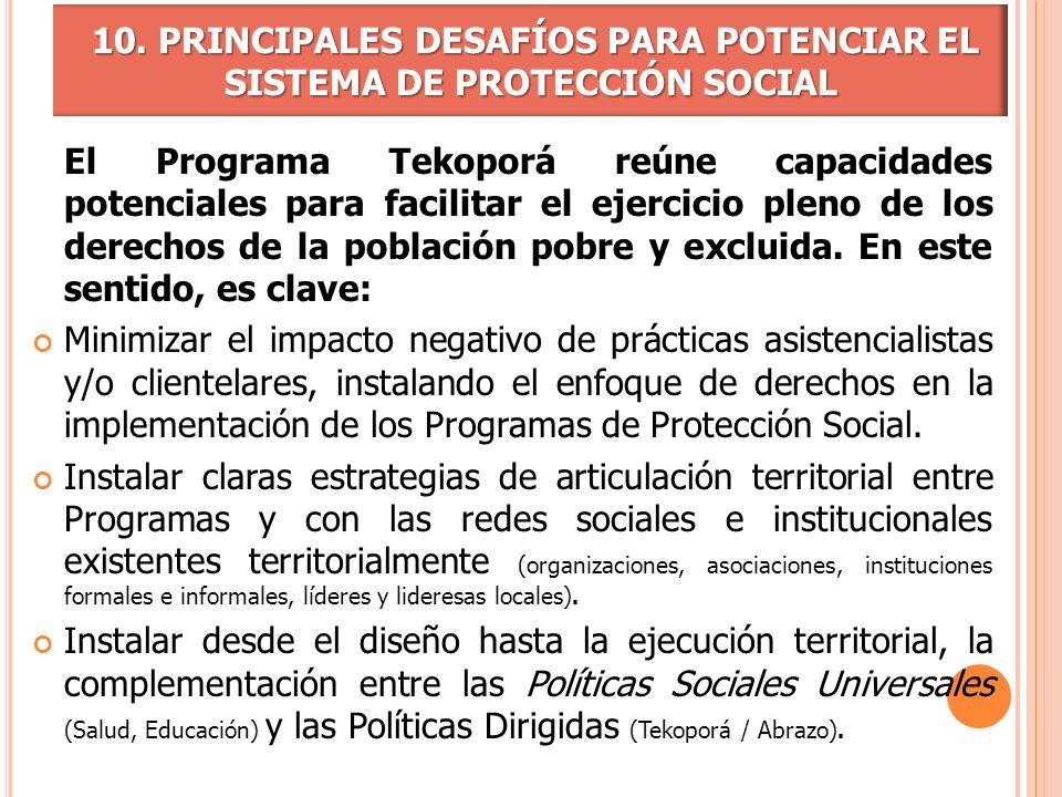 El Programa Tekoporá reúne capacidades potenciales para facilitar el ejercicio pleno de los derechos de la población pobre y excluida. En este sentido