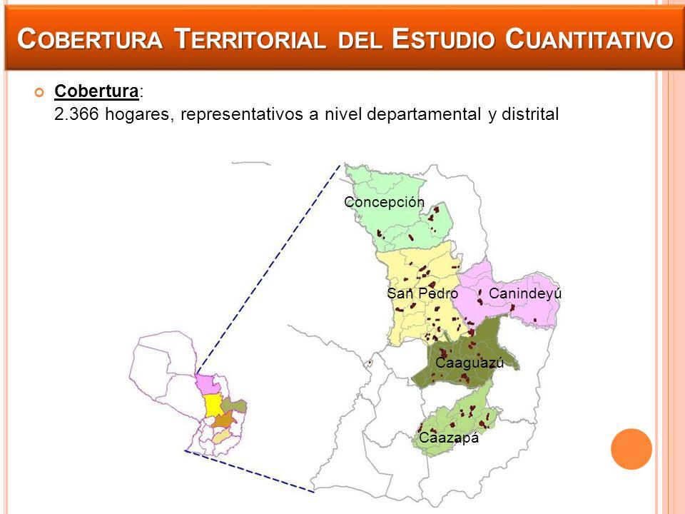 C OBERTURA T ERRITORIAL DEL E STUDIO C UANTITATIVO Cobertura: 2.366 hogares, representativos a nivel departamental y distrital Concepción San Pedro Ca