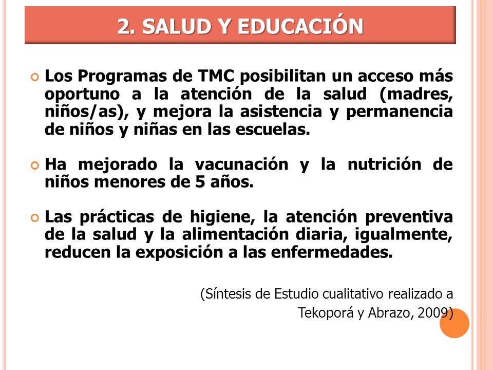 Los Programas de TMC posibilitan un acceso más oportuno a la atención de la salud (madres, niños/as), y mejora la asistencia y permanencia de niños y