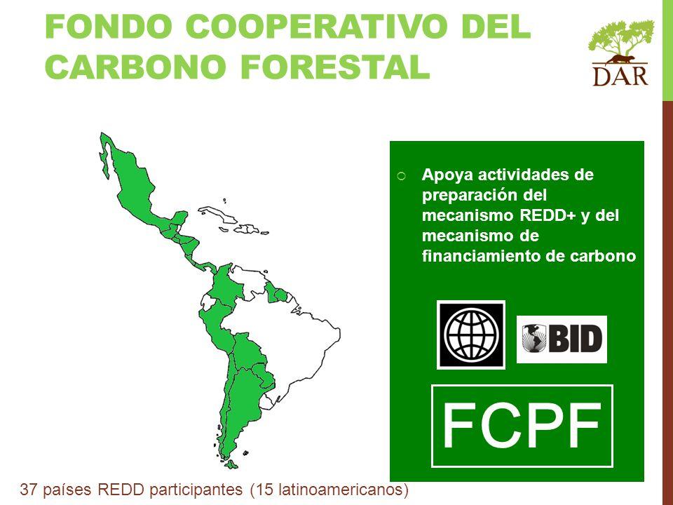 FONDO COOPERATIVO DEL CARBONO FORESTAL Apoya actividades de preparación del mecanismo REDD+ y del mecanismo de financiamiento de carbono FCPF 37 paíse