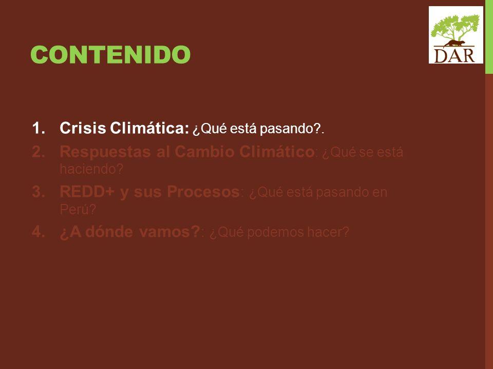 CONTENIDO 1.Crisis Climática: ¿Qué está pasando?. 2.Respuestas al Cambio Climático : ¿Qué se está haciendo? 3.REDD+ y sus Procesos : ¿Qué está pasando