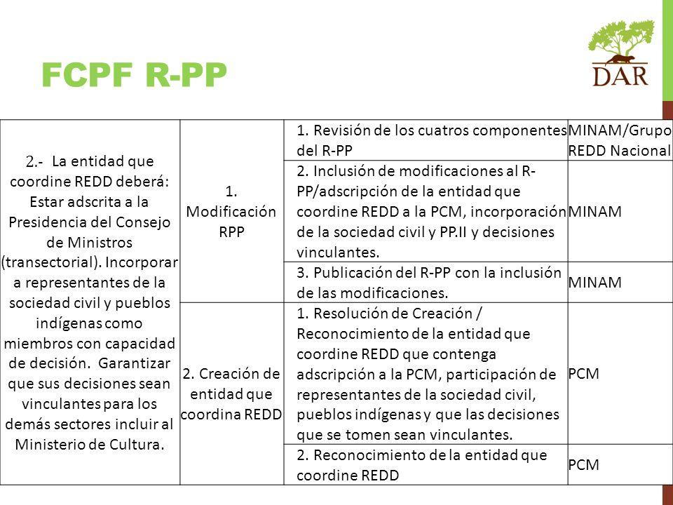 FCPF R-PP 2.- La entidad que coordine REDD deberá: Estar adscrita a la Presidencia del Consejo de Ministros (transectorial). Incorporar a representant
