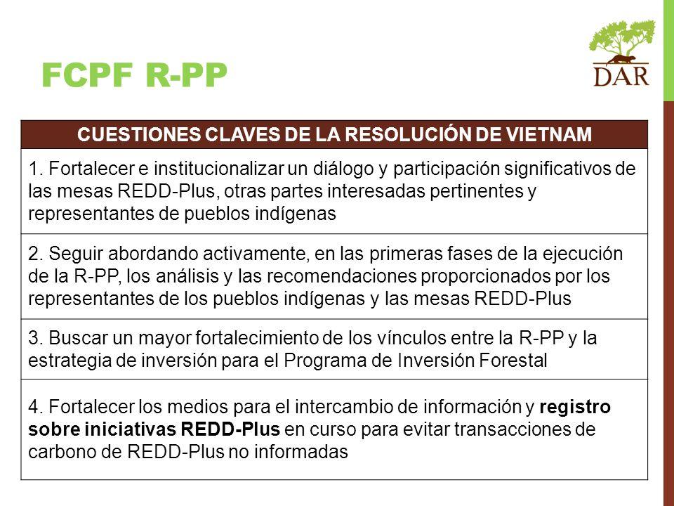 FCPF R-PP CUESTIONES CLAVES DE LA RESOLUCIÓN DE VIETNAM 1. Fortalecer e institucionalizar un diálogo y participación significativos de las mesas REDD-
