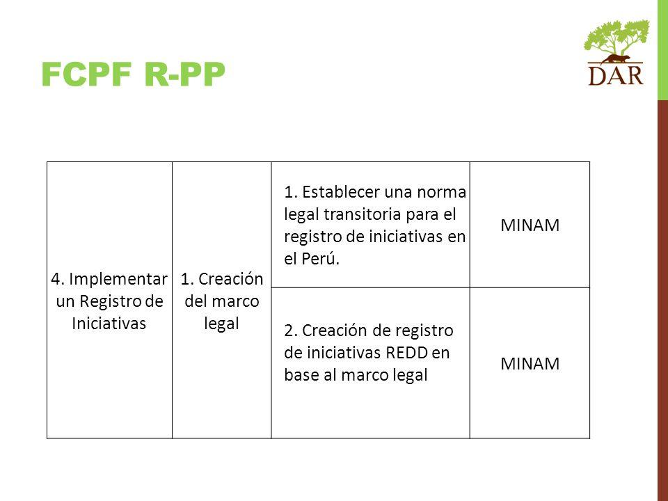 FCPF R-PP 4. Implementar un Registro de Iniciativas 1. Creación del marco legal 1. Establecer una norma legal transitoria para el registro de iniciati