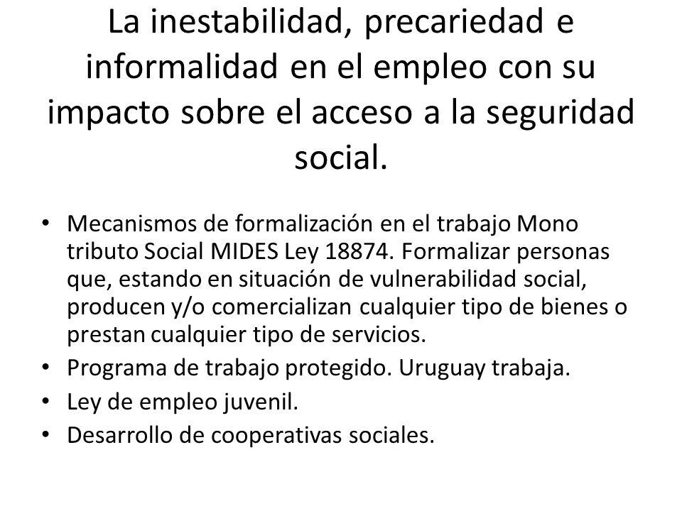 La inestabilidad, precariedad e informalidad en el empleo con su impacto sobre el acceso a la seguridad social.