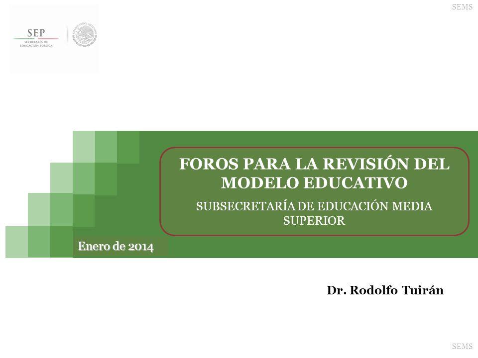Foros para la revisión del modelo educativo SEMS 2 EDUCACIÓN MEDIA SUPERIOR La realización de los foros para el nivel medio superior se ajustará al siguiente calendario: FechaLugarCoordinador 10 de febrero de 2014Chihuahua, Chihuahua Antrop.