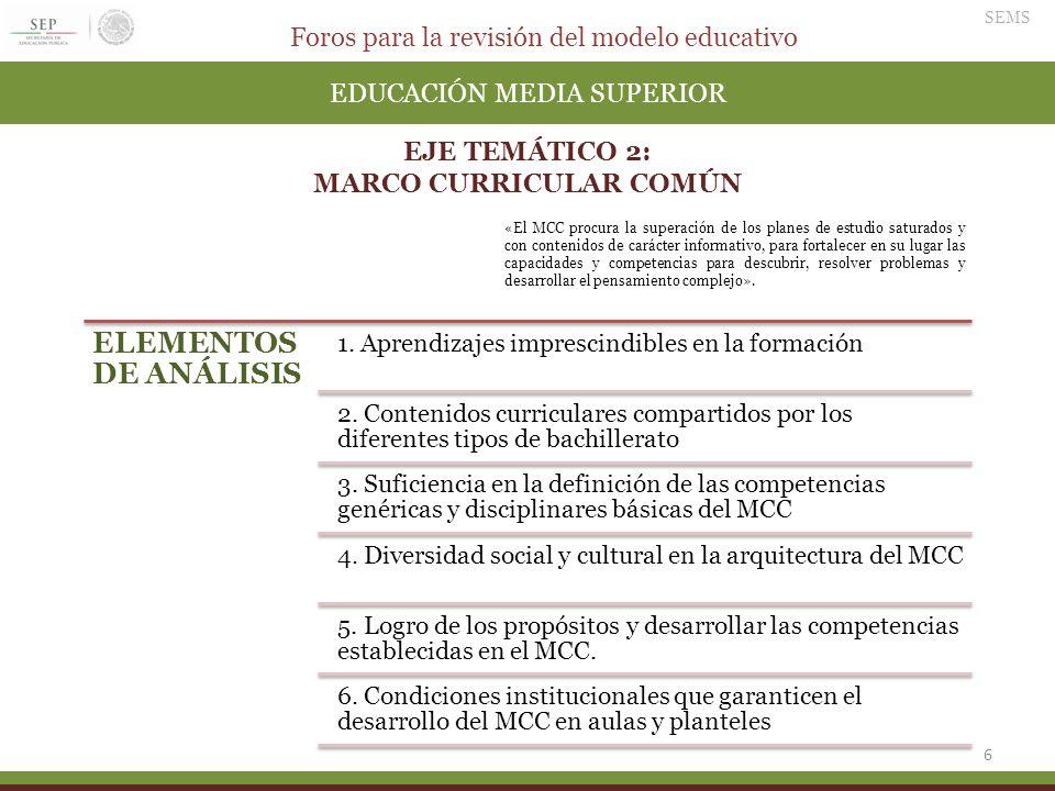 Foros para la revisión del modelo educativo SEMS 6 EDUCACIÓN MEDIA SUPERIOR EJE TEMÁTICO 2: MARCO CURRICULAR COMÚN ELEMENTOS DE ANÁLISIS 1. Aprendizaj
