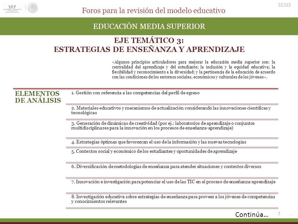 Foros para la revisión del modelo educativo SEMS 7 EDUCACIÓN MEDIA SUPERIOR EJE TEMÁTICO 3: ESTRATEGIAS DE ENSEÑANZA Y APRENDIZAJE ELEMENTOS DE ANÁLIS