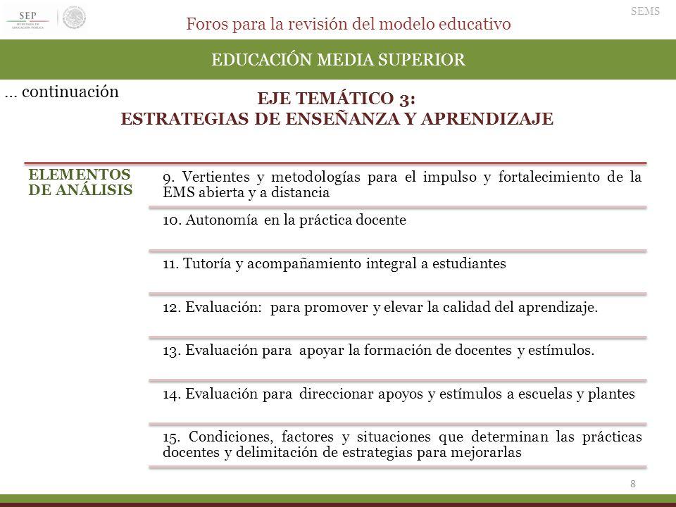 Foros para la revisión del modelo educativo SEMS 9 EDUCACIÓN MEDIA SUPERIOR EJE TEMÁTICO 4: DESARROLLO PROFESIONAL Y FORMACIÓN CONTINUA DE DOCENTES Y DIRECTIVOS ELEMENTOS DE ANÁLISIS 1.