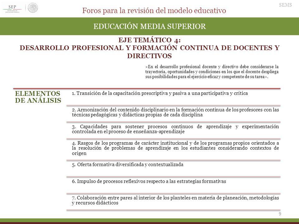 Foros para la revisión del modelo educativo SEMS 9 EDUCACIÓN MEDIA SUPERIOR EJE TEMÁTICO 4: DESARROLLO PROFESIONAL Y FORMACIÓN CONTINUA DE DOCENTES Y